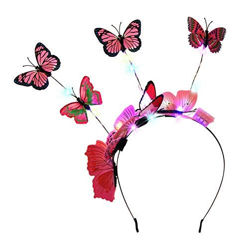 Fascigirl Haarband, vlinder, met led-vlinder, voor carnaval, vlinder, meisjes, haarsieraad, exquisiet, vlinder, haarband, cocktail, thee, party, dames, carnaval, kostuum, accessoires roze