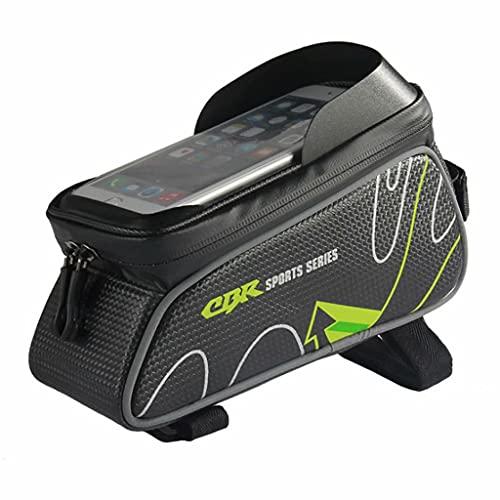YZX Bolsa Bici, Bolsa de Marco Frontal de sillín de Tubo Superior para Montar en Bicicleta al Aire Libre, Bolsa de teléfono móvil con Pantalla táctil de sombreado Impermeable portátil,Verde