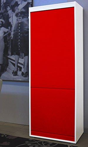 NuovaIdeaDesign.it Mobile a serrandina in Legno Laminato H180 L60 P45 con 4 Ripiani Interni - Bianco e Rosso