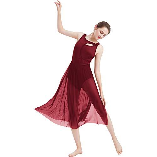 FYMNSI Vestido de danza lírica para mujer, moderno, contemporáneo, con corte frontal, malla de tul sin mangas, sin espalda, maillot de ballet, ropa de salón de baile, tallas XS-XL