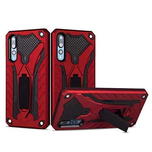 COOVY® Cover für Huawei P20 pro Bumper Case, Hülle Doppelschicht aus Plastik + TPU-Silikon, extra stark, Anti-Shock, Standfunktion   rot