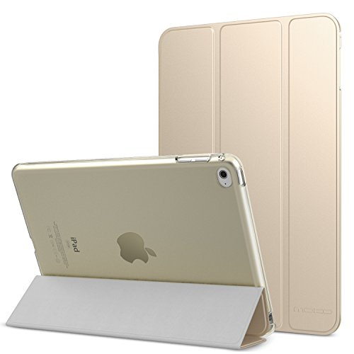 MoKo iPad Mini 4 Case - Slim Lightweight Stand Cover with Translucent Frosted Back Protector for Apple iPad Mini 4 7.9 inch 2015 Release Tablet, GOLD (with Auto Wake / Sleep)
