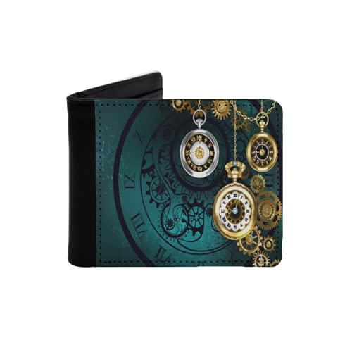 Cartera Delgada de Cuero para Hombre,Reloj Antiguo de joyería con Cadenas de Oro.,Cartera Minimalista con Bolsillo Frontal Plegable