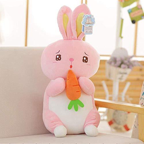 DINGX Pequeño conejo de peluche de juguete de zanahoria conejo muñeca cachorro sosteniendo una muñeca niño pacificando niña regalo-45Cm_blanco chuangze