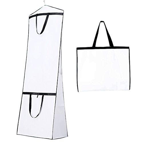 Shsyue® Atmungsaktiver Brautkleidersack, Faltbare Polyester Kleidersack Schutzhülle für Hochzeitskleider, Brautkleid, Abendkleid, 180cm (Weiß)