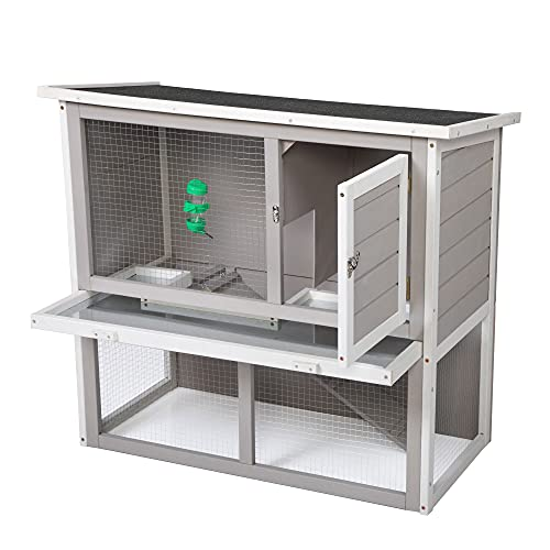 Wooden Rabbit Cage Bunny Hutch Indoor Outdoor, Guinea Pig Cages with Water Bottle Safe, Weatherproof Roof, Ramp and Tray, 2-Tier Chicken Coop for Rabbit, Guinea Pigs, Hedgehog, Gray& White