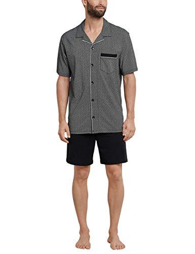 Schiesser Herren Pyjama kurz Zweiteiliger Schlafanzug, Schwarz (Schwarz-Gem. 006), Medium (Herstellergröße: 050)