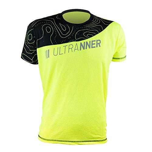 ULTRANNER - ARVES | Camiseta Técnica Hombre Manga Corta - Camiseta Transpirable Ultraligera Apta para Trail Running Trekking Y Más - Color Amarillo Fluorescente para Más Visibilidad Talla L