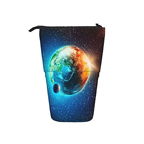 Astuccio telescopico Astuccio per cancelleria,Gli elementi del pianeta terra nei raggi del,Supporto per matite Stand Up Astuccio per cosmetici con cerniera per l ufficio del college scolastico