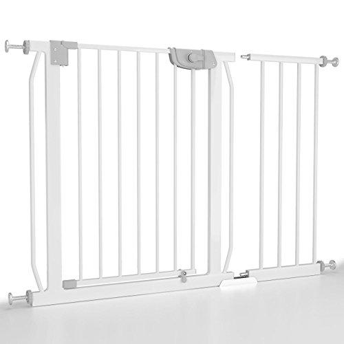 Froggy Türschutzgitter 105-113cm ink Verlängerung Absperrgitter Klemminstallation ohne Bohren Treppenschutz doppeltgesichertes Türschließsystem Metall