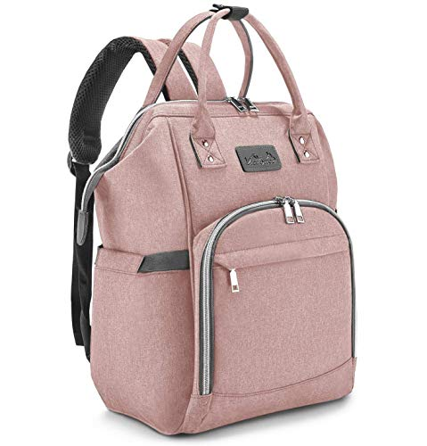 Viedouce Baby Diaper Bag Backpack with Changing Pad Stroller Straps, Pink