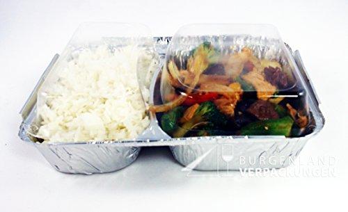 20 Alu - Menüschalen mit glasklarem Deckel • 2-geteilt • TIEF • stabile Alumenüschale • Alu-Schale • Alu-Menüschale • Lunchbox • Assietten • Menüteller • Alubehälter • Aluminiumschalen