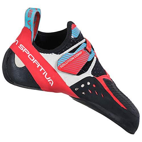 LA SPORTIVA Solution Comp Woman, Zapatillas de Escalada Mujer, Hibiscus/Malibu Blue, 41.5...