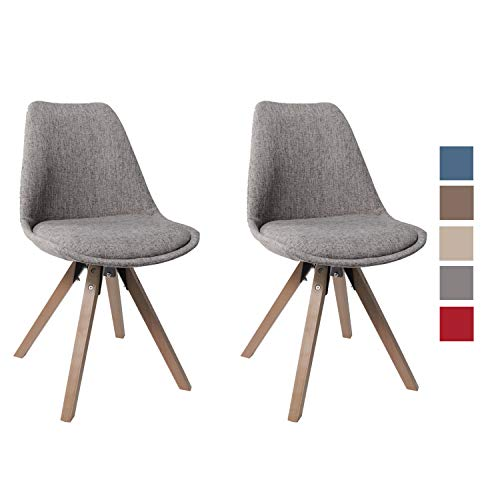 Stuhl Esszimmerstühle Grau Küchenstühle 2 er Set mit Holzbeinen Sitzkissen Esszimmerstuhl Retro Stoffbezug Duhome 0454