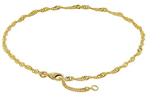 trendor Fußkettchen 333 Gold Singapur-Muster Breite 2,4 mm modischer Fußschmuck für Damen, Kette aus Echtgold, Geschenkidee für Frauen, Goldschmuck, 50507