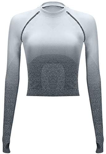 RUNNING GIRL Ombre Seamless Crop Top Long Sleeve Layer Crew Neck Power Stretch Gym Yoga...