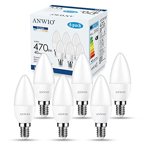 ANWIO Lampadina a LED Attacco E14(Attacco Piccolo),Forma a Candela, 6500K Luce Bianca Fredda,4.5W Equivalente a 40W,470LM,Risparmio Energetico,Non Dimmerabile,Confezione da 6 Pezzi