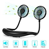 GINEKOO Portable Hanging Neck Fan, Hand Free Mini USB Fan with Rechargeable Battery, 3 Level Air speeds & 2 Modes LED Light, 2 Fans With 360° Free Rotation perfect for Outdoor, Travel, Sport, Office, Black