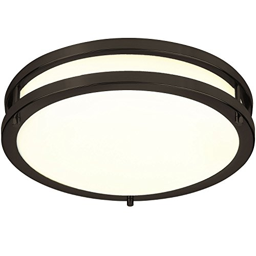 LB72120 LED Flush Mount Ceiling Light, 12 inch, 15W (150W Equivalent) Dimmable 1200lm, 3000K Warm White, Oil Rubbed Bronze Round Lighting Fixture for Kitchen, Hallway, Bathroom, Stairwell