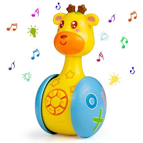 WolinTek Juguetes educativos tempranos,Juguetes Bebe ,Juguetes Musicales para Niños,Juguetes de Vaso de Jirafa Juguete de Sonido con Música y Luz,Máquina de Aprendizaje Regalo de Juguete