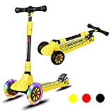 Goplus Kids Kick Scooter, Folding Scooter with 3 LED Light Up Wheels, Adjustable Height Handlebar, Brake, Toddlers Scooter for 4 to 13 Years Old Kids, Lean to Steer Scooter for Boys and Girls (Yellow)
