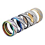 5 Pack of Stainless Steel Lucky Worry Rings for Men Wedding Ring Cool Simple Band 8 MM Ring For Women