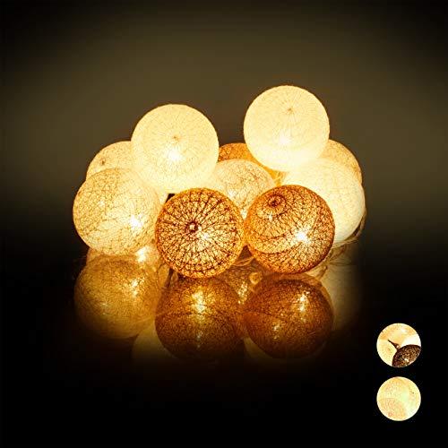 Relaxdays Guirnalda Luces con 10 Bolas LED a Pilas, Algodón-Poliestireno, Blanco-Gris-marrón, 6 cm de diámetro
