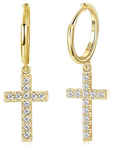 Milacolato 925 Sterling Silver Hoop Drop Earrings Pave CZ Gold Minimalist Dangle Cubic Zirconia Cross Dangly Earrings for Women Men