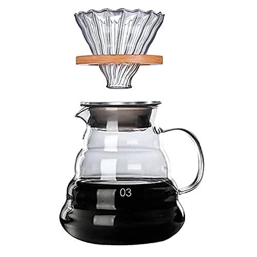 PPOIU Soportes de Madera Juego de gotero y Olla de café de Vidrio Estilo japonés V60 Filtro de café de Vidrio Filtros de café Reutilizables 700Ml