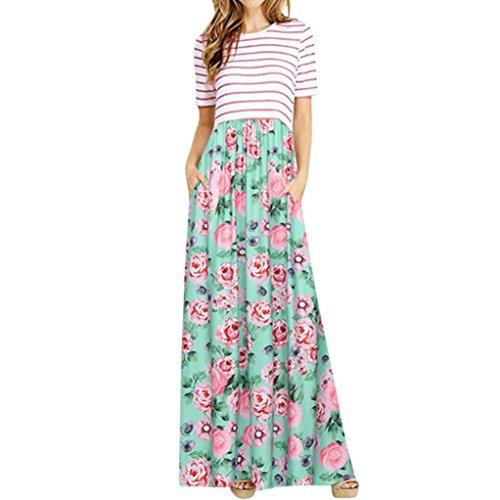 Keepwin Sommer Beiläufige Strand-Kleid, Beiläufige Gestreifte Kurzarm-Oberseiten Der Frauen, Die Hem Spleiß Langes Kleid Drucken (XL, Green)