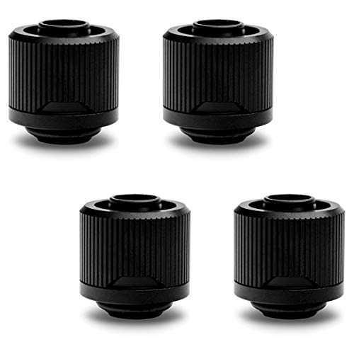 "EKWB EK-Quantum Torque STC-10/16 Compression Fitting for Soft Tubing, 10/16mm (3/8"" ID, 5/8"" OD), Black, 4-Pack"