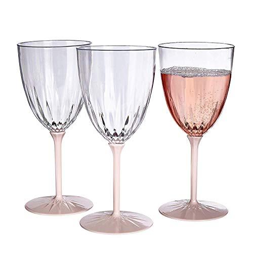 Taças de vinho descartáveis da coleção vintage | Copos de vinho reutilizáveis com haste | para casamento e jantar de luxo | Inclui 6 copos de plástico (blush)