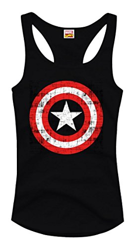 Camiseta de tirantes para mujer de Capitán América Marvel Comics Avengers – Vintage Shield Logo (Black) (S-XL) (L) Negro L