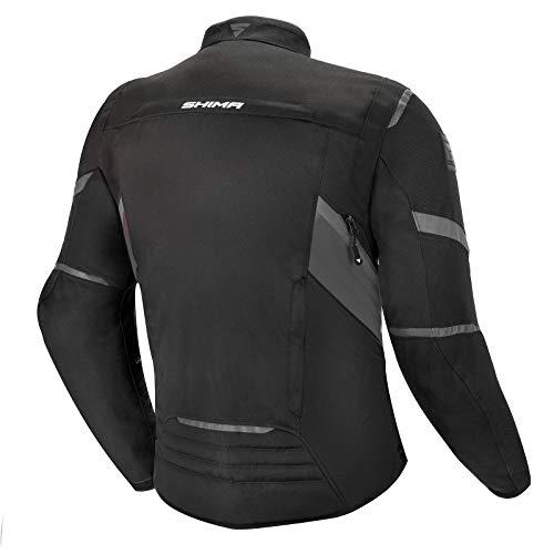 Shima RUSH Chaqueta Moto Hombre -Toda Estaciones Cazadora Moto Textil Hombre de 3 capas con membrana impemeable capa calefactora CE espalda, hombros, codos protecciones (Negro, XXL)