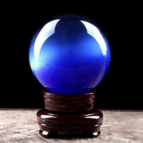 Living Equipment Crystal clear glass balls Green Crystal Ball Ornaments Opal Blue Crystal Ball Opening Gift Transfer Natural Optimization Feng Shui Crafts Gift + Base crystal ball (Color : Blue Siz