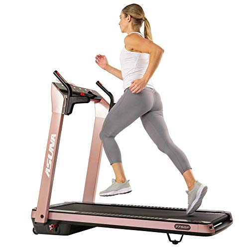 Sunny Health & Fitness Asuna SpaceFlex Electric Treadmill with Auto Incline, LCD and Pulse Grips, Speakers, Tablet Holder, 220 LB Max Weight, Folding and Portability Wheels - 7750P