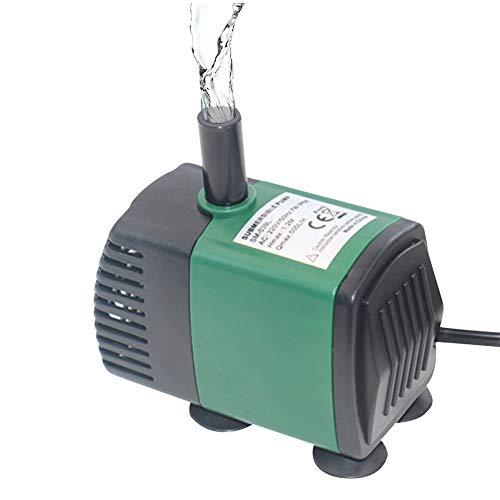 7W 600L/H Bomba de Agua Sumergible Mini Bomba de Fuente Bomba de Agua Ultra silenciosa para Acuario Tanque de Peces Estanque Jardines de Agua Sistemas hidropónicos con boquillas (EU Type 1)