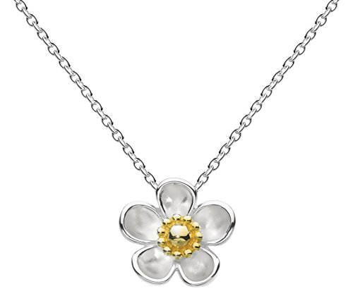 Kit Heath Sterling Silver and Gold Plate Large Wood Rose Necklace of Length 40.6-45.7cm