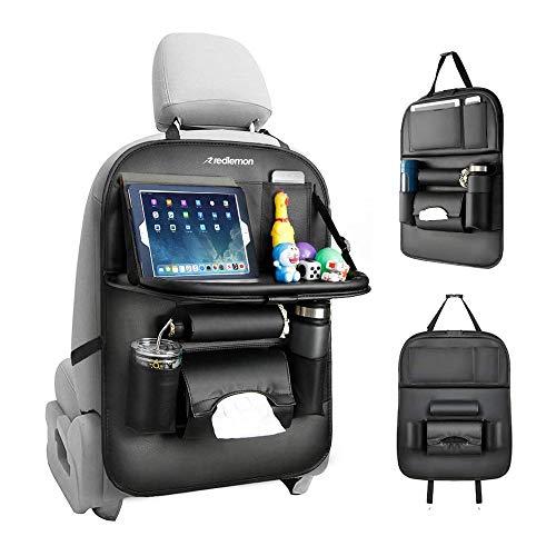 Redlemon Organizador para Auto de Asiento Trasero de Piel Sintética con 7 Compartimentos, Protección de Respaldo, Espacio para Tablet, Termos y Botellas, Smartphone, Resistente a...