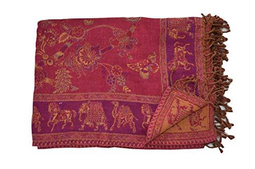 Tribal Asian Textiles Wendebettwäsche aus Wolle und Seide, Jamawar Paisley-Überwurf, Designer-Bettwäsche, Tagesdecke