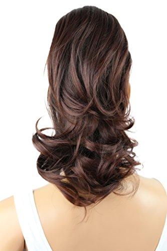 PRETTYSHOP 30cm Postiche Natte Queue De Cheval Extensions De Cheveux Volumineux Ondulé Mélange Brun Rougeâtre H108