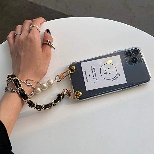 Funda para teléfono con tarjeta y pulsera con cuentas de perlas para iPhone 12 mini 11pro 7 8plus X Xr Xs Max SE2020 TPU Contraportada para teléfono a prueba de golpes, 01, para iPhoneXSMAX6.5