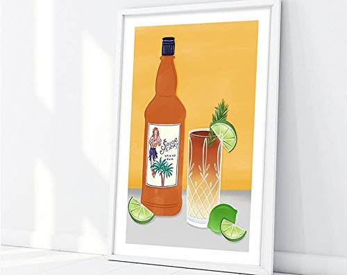 Rum/Alcohol/Lime/Rum Bottle/Cocktail/Dark and Storm/Glass/Beverage Printing Family Frameless Decorative Painting A207 60x90cm