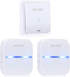 MLITER Self-Powered Wireless Doorbell Kit with 2 Plug-in Receivers 500 Feet Range 58 Chimes and 4 Volumes, No Battery Operated for Home and Office,IP55 Waterproof, White