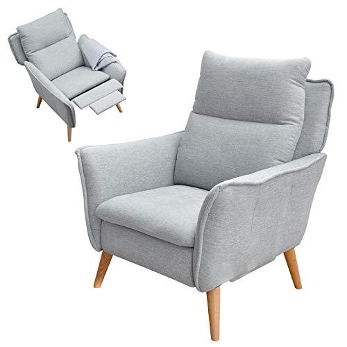 place to be. Relaxsessel mit Liege-Funktion in Premiumqualität im skandinavischem Stil Buche massiv hellgrau P9573 mit Fleckschutz