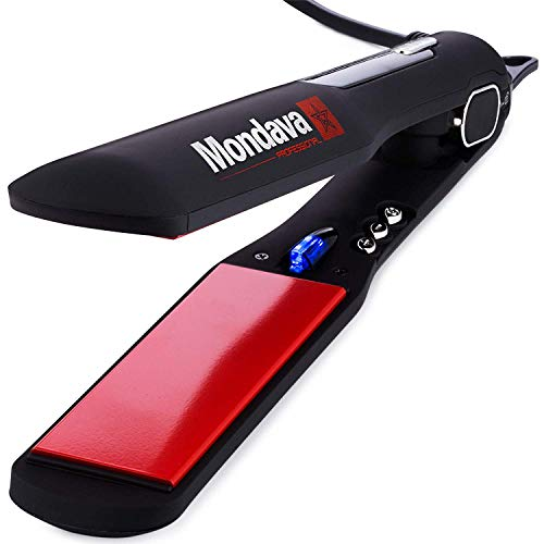MONDAVA Professional Ceramic Tourmaline Hair Straightener Flat Iron and Curler - Dual Voltage Adjustable Digital LED Technology, Straighten and Style Frizzy Hair in 8 Min, Perfect for All Types, 1¼'