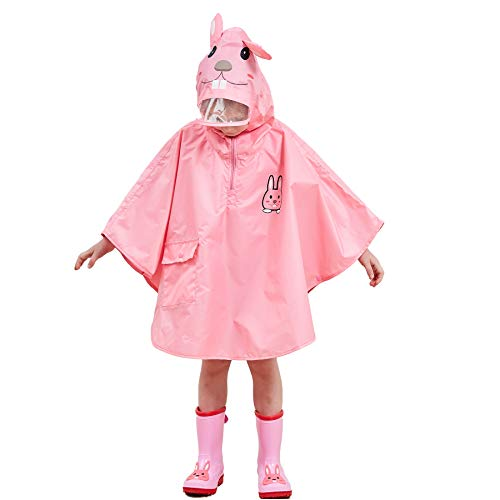 Bwiv Regenponcho Mädchen Unisex Wasserdicht Atmungsaktiv Regenmantel Leicht Hautfreundlich Regenbekleidung Regen Overall Regencape Regenjacke Slicker mit Tasche Rosa M
