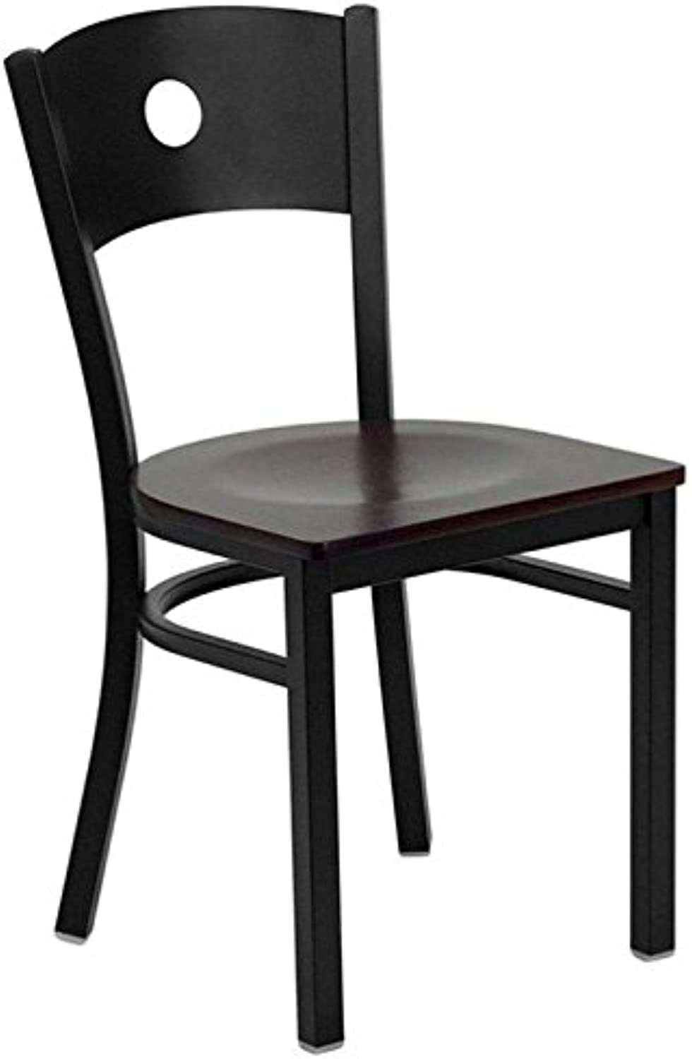 Bowery Hill Circle Back Metal Dining Chair in Mahogany