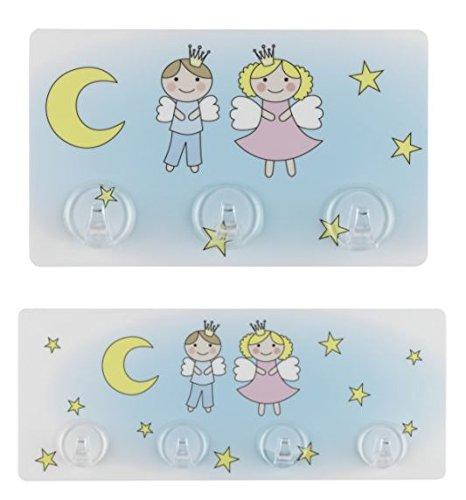 Wenko 2X Hakenleiste Schutzengel für Kinder, mit 4 & 3 Haken, Static-Loc - Befestigen ohne Bohren, Kleiderhaken, Handtuchhaken, Garderobenhaken