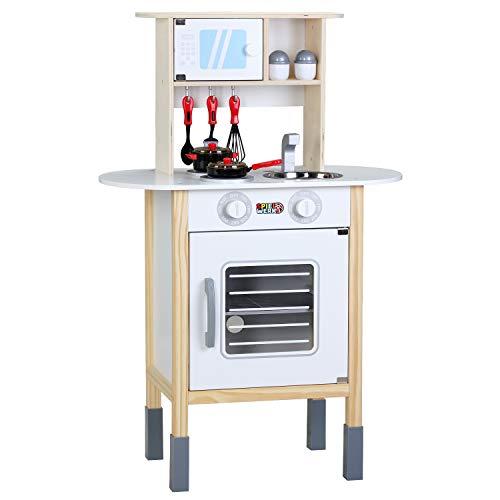 Spielwerk Cocinita Happy Kitchen Cocina de Madera Juguete para niños 35 Accesorios 57x29,5x77/83cm Altura Ajustable